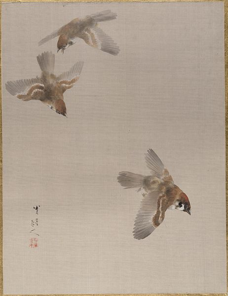 Sparrows Flying - Watanabe Seitei