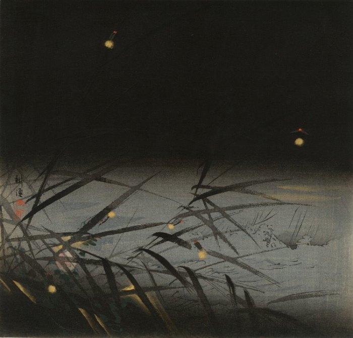 Fireflies, Tsukioka Kogyo woodcut with hand colouring-1910