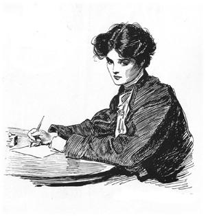 Writer Line Drawing