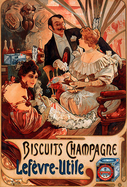 Alfonse Mucha 1896 French Ad, Biscuits Champagne-Lefèvre-Utile