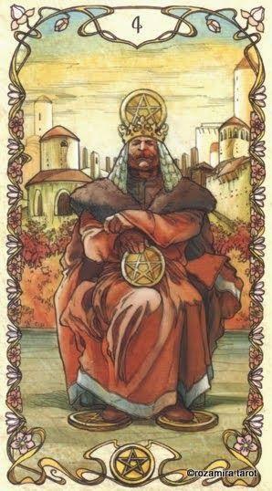 4 of Coins-Mucha Tarot