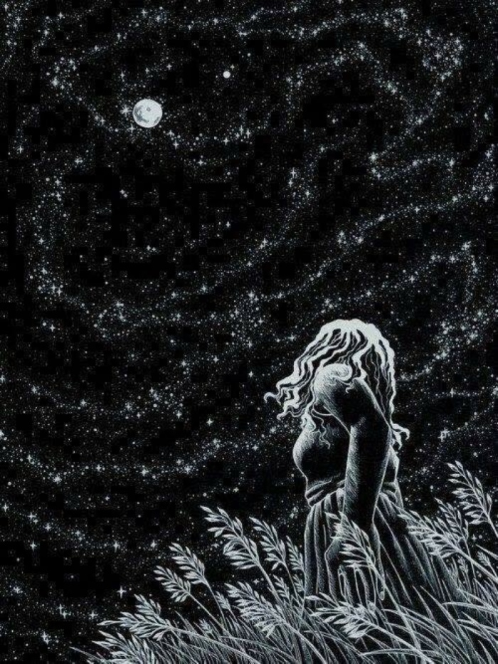 Girl at night with stars