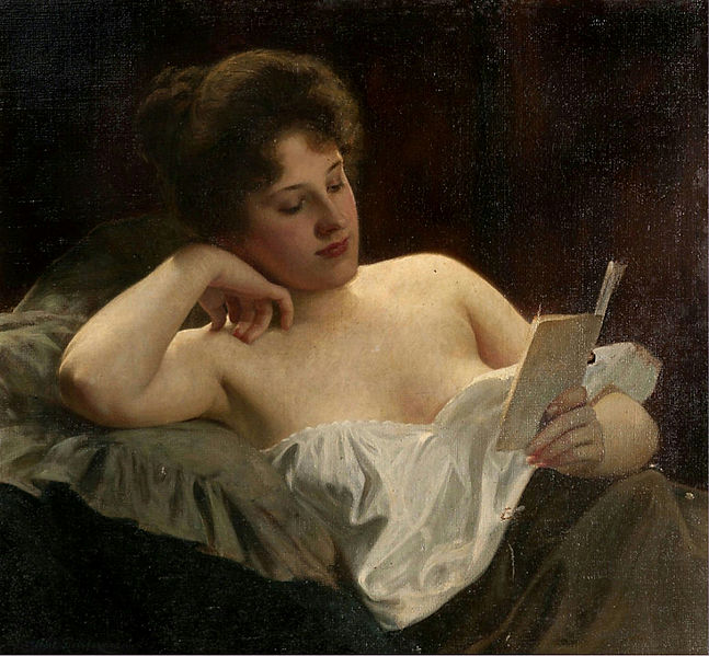 Albert Ritzberger - A reclining woman reading (detail)
