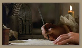 Writing with pen and quill